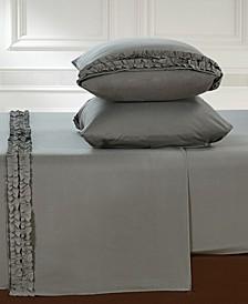 Bella Shabby Chic Easy Care Ruffled Microfiber Bed Sheet Set, Split King