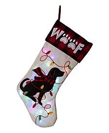 LED Embroidered Linen Christmas Stocking - Dog