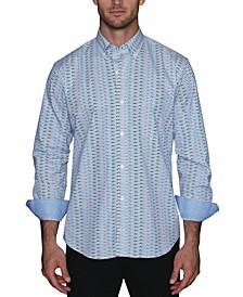 Men's Zigzag Print Button Down Shirt