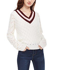 Juniors' Pointelle Sweater