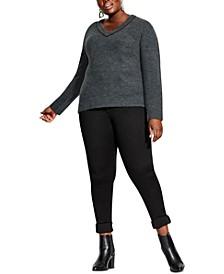 Plus Size V-Neck Metallic-Hardware Sweater