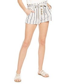 Juniors' Striped Belted Paper-Bag Shorts