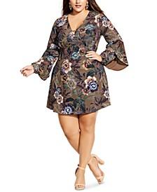 Trendy Plus Size Ruffle-Sleeve Floral-Print Mini Dress