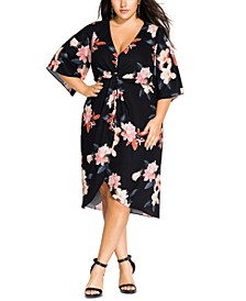 Trendy Plus Size Sencha Floral Twist-Front Dress