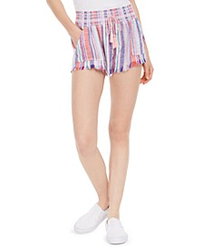 Juniors' Striped Smocked-Waist Soft Shorts