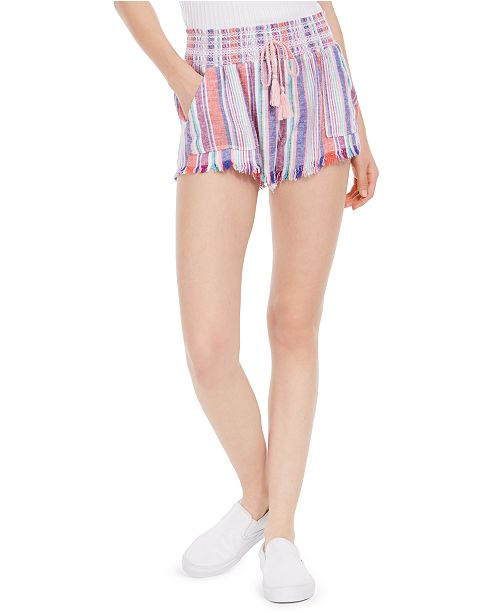 Rewash Juniors' Striped Smocked-Waist Soft Shorts