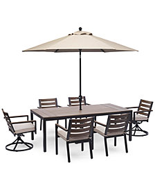 """Stockholm Outdoor Aluminum 7-Pc. Dining Set (84"""" x 42"""" Rectangle Dining Table, 4 Dining Chairs & 2 Swivel Rocker Chairs) with Sunbrella® Cushions, Created for Macy's"""