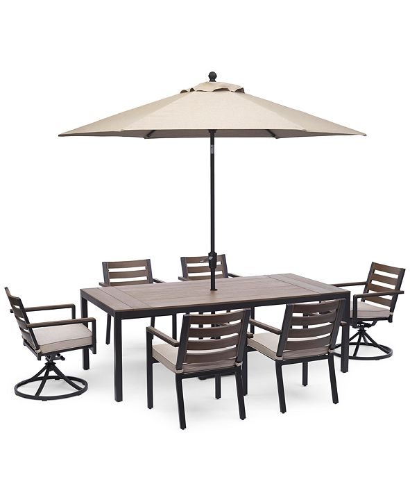 """Furniture Stockholm Outdoor Aluminum 7-Pc. Dining Set (84"""" x 42"""" Rectangle Dining Table, 4 Dining Chairs & 2 Swivel Rocker Chairs) with Sunbrella® Cushions, Created for Macy's"""