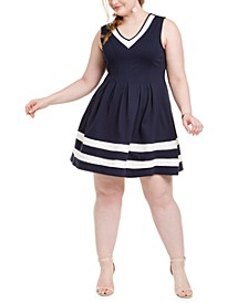 Trendy Plus Size Striped-Hem Fit & Flare Dress