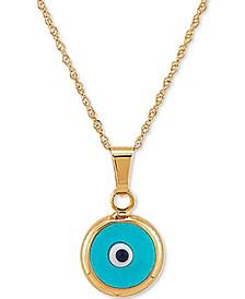 "Enamel Evil-Eye 18"" Pendant Necklace in 10k Gold"