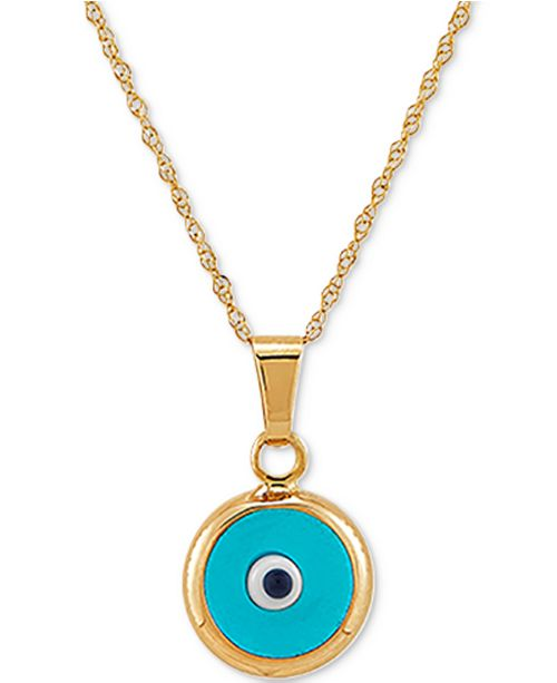 "Macy's Enamel Evil-Eye 18"" Pendant Necklace in 10k Gold"