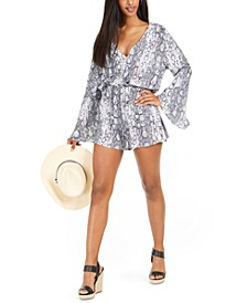 Python-Print Swim Cover-Up Romper, Created For Macy's