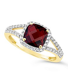 Garnet (2 ct. t.w.) and Created White Sapphire (1/4 ct. t.w.) Ring in 10k Yellow Gold