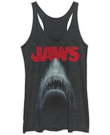 Jaws Shark in Dark Waters Classic Icon Tri-Blend Racer Back Tank