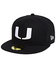 Miami Hurricanes Core Black White 59FIFTY Fitted Cap