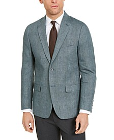 Men's Classic-Fit UltraFlex Stretch Green Plaid Sport Coat