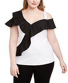 INC Plus Size Colorblocked Ruffled Top, Created for Macy's