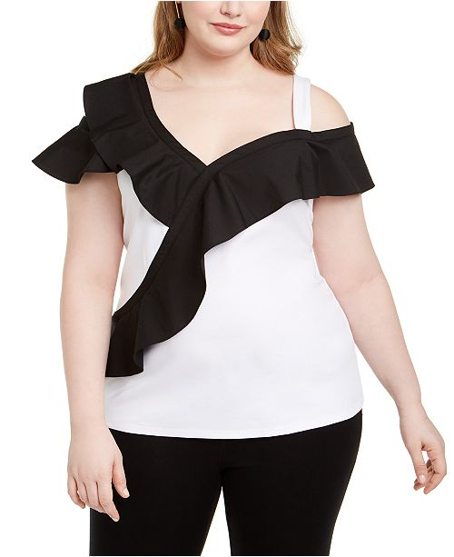 INC International Concepts INC Plus Size Colorblocked Ruffled Top, Created For Macy's