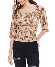 Juniors' Floral Print Smocked Waist Top