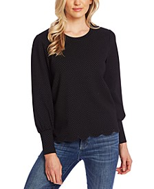 Pin-Dot Scalloped-Edge Top