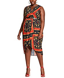 Trendy Plus Size Printed Scarf Dress