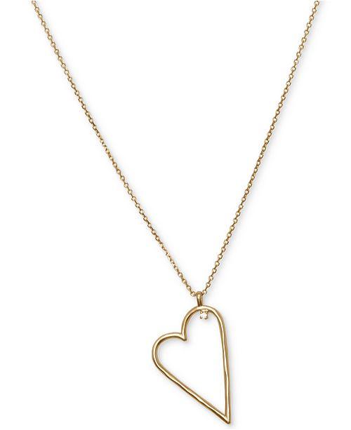 "Lucky Brand Gold-Tone Heart Pendant Necklace, 32"" + 2"" extender"