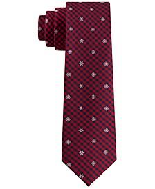 Big Boys Snowflake Mini-Plaid Tie