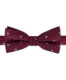 Big Boys Pre-Tied Snowflake Mini-Plaid Bow Tie