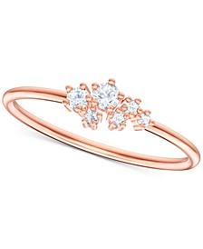 Penelope Cruz Moonsun Rose Gold-Tone Crystal Cluster Ring