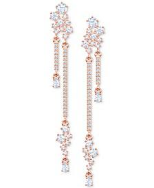 Penelope Cruz Moonsun Rose Gold-Tone Crystal Cluster Long Chandelier Earrings