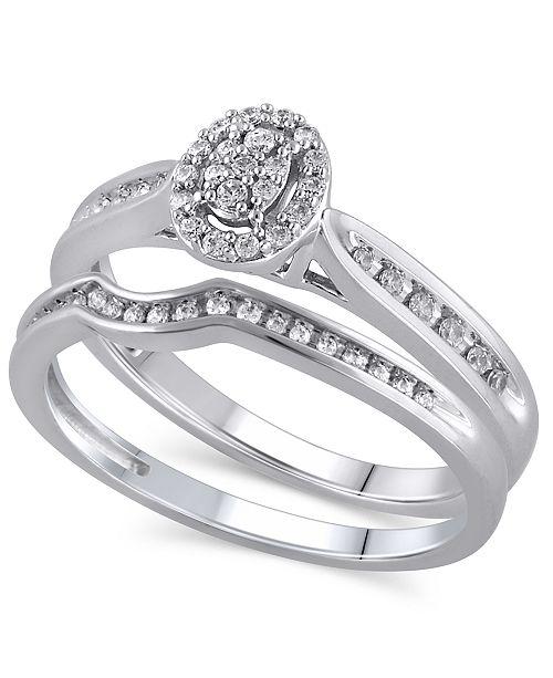 Macy's Certified Diamond (1/4 ct. t.w.) Bridal Set in 14K White Gold