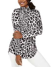 Cheetah-Print Turtleneck Top, Created For Macy's