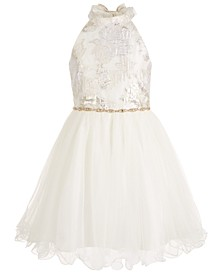 Big Girls Brocade & Mesh Wire-Hem Dress