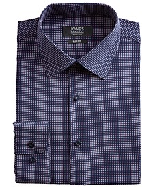 Men's Slim-Fit Performance Stretch Cooling Tech Navy Blue/Pink Square-Print Dress Shirt