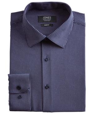 Men's Slim-Fit Performance Stretch Cooling Tech Navy Blue/Pink Square-Print Dress Shirt