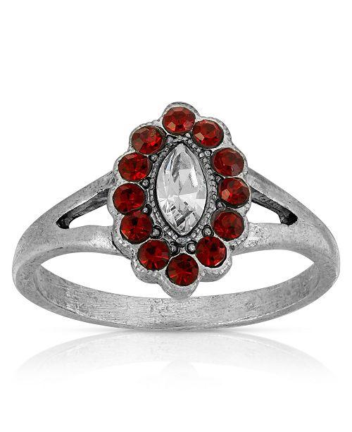 2028 Pewter Diamond Shaped Crystal Ring