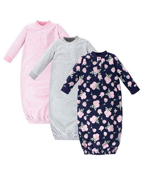 Hudson Baby Baby Girl Fleece Gowns, Set of 3