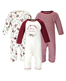 Baby Girl Coveralls and Union Suits, Set of 3