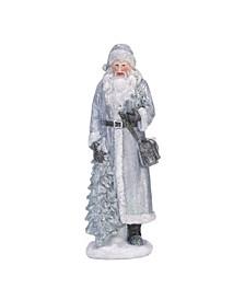 Small Silver Christmas Sweater Santa Figurine - Set of 3