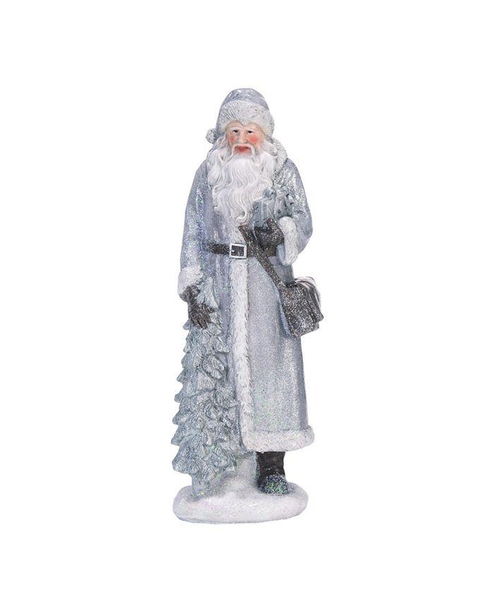 Trans Pac - Resin Small Silver Christmas Sweater Santa Figurine Set of 3