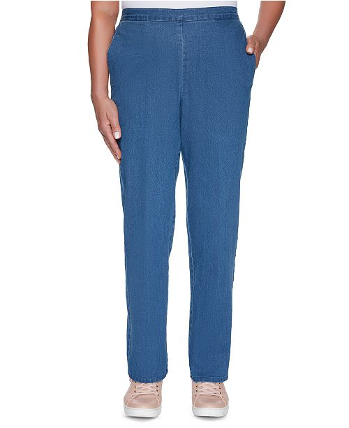 Alfred Dunner Pearls of Wisdom Denim Pull-On Pants