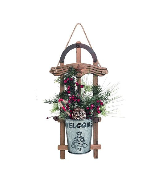 """Trans Pac Wood 20"""" Silver Christmas Sled Ornament"""