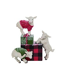 Resin Red Christmas Snowy Goats Figurine