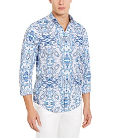 Men's Stretch Reflection Paisley-Print Shirt, Created For Macy's
