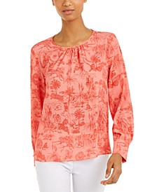 Printed Gathered-Neck Top