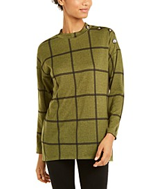 Windowpane-Print Button-Trim Top