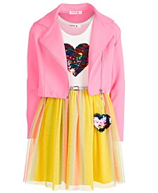 Big Girls 2-Pc. Moto Jacket & Belted Heart Dress Set