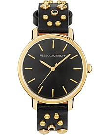 Women's BFFL Black Studded Leather Strap Watch 36mm