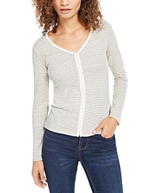 Pointelle Button-Front Top