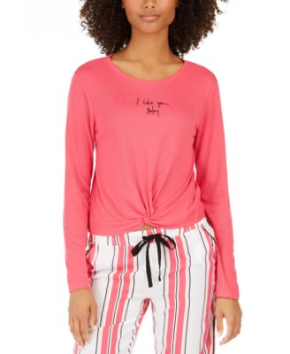 Twist-Front Cropped Pajama Top, Created For Macy's